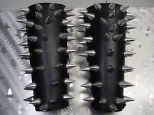 LEATHER OLD SCHOOL CONE SPIKES GAUNTLETS .BLACK METAL...(MDLG0335) ..GOATPENIS'S