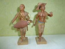 2 Statues Santons Terre Cuite  Ecole  Orientaliste Fin XIX