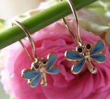 Antike Ohrringe Brisuren 583°Gold blaue Libelle echte Emaille Russland 1960 O667