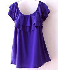 NEW~Midnight Blue Layered Ruffle Peasant Blouse Shirt Boho Plus Top~22/24/1X/2X