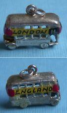London England sterling charm Vintage enamel double decker bus