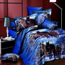 3D  Quilt Cover Pillow Case Double Bedding Set 4pcs Blue Wolf Painted queen size