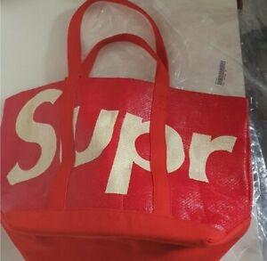 New SS20 Supreme raffia tote bag red big Logo