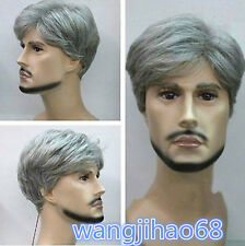 Cosplay handsome men's silver gray short  Natural Hair Wigs + wig cap gift