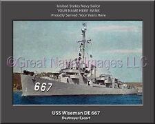 USS Wiseman DE 667 Personalized Canvas Ship Photo Print Navy Veteran Gift