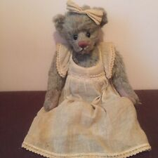 Ganz Cottage Collectibles Jointed Teddy Bear 1999 By Lorraine Bow & Linen Dress