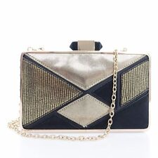 Inc International Concepts Sholla Gold Black Cocktail Clutch Crossbody