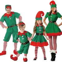 Christmas Costume Green Elf Dress Santa Cosplay Fancy Dress Boys Girls Men Women