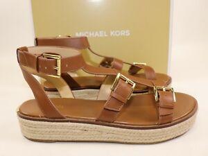 NIB $159 MICHAEL KORS Size 9 Women's Luggage 100% Leather CUNNINGHAM Sandal