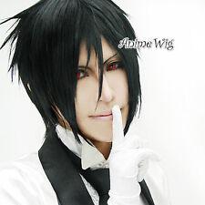 Black Butler Sebastian Michaelis Perücke Cosplay Anime Kostüm Wig 30cm Schwarz