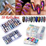 10Rolls Starry Sky Laser Nail Foils Marble Holographic Nail Art Transfer Sticker