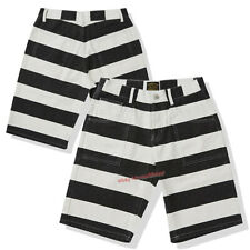 Men's Canvas Prisoner Cargo Cotton Shorts Retro Motorcycle Striped Short Pants