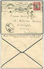 SOUTH AFRICA POSTAGE DUE 1939 WW2 to WALLINGTON GB TELEGRAMS SLOGAN MOURNING ENV