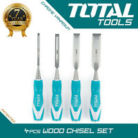 Total Tools WOOD CHISEL SET 4pcs Woodworking Carpentry Hand Carving Bevel Edge