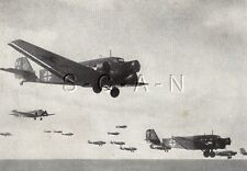 WWII Org German Press Photo- Lithograph- Luftwaffe- Airplane- Junkers JU 52- 43