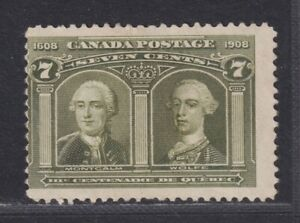 Canada Scott 100 MNG 1908 7¢ Olive Green Quebec Tercentenary Issue