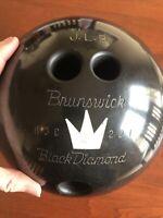 VTG Brunswick Bowling Ball Black Diamond 16 Lbs With Black Bag
