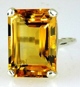Stunning Top Color Large Emerald Cut Citrine Ring 10k Yellow Gold 14.01 CTS