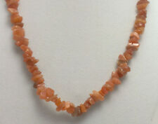 """*Authentic* India Coral Pink Moonstone Chipped Bead Crystal 18"""" Necklace #31"""