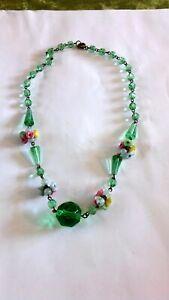 Vintage Czech Uranium Glass And Bell Flower Necklace