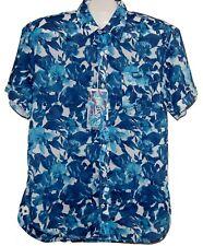 Ganesh Men's Blue White Floral Cotton Shirt Size XXL NEW