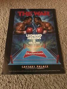 Vintage 1989 SUGAR RAY LEONARD vs THOMAS HEARNS II 2 Poster Print Ad BOXING