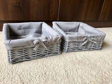 2x Grey Wicker Toy Storage Baskets Stackable Kids Playroom Bedroom Hamper Lining