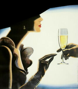print  poster framed canvas vintage champagne lady old painting art
