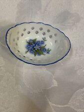 Miniature Porcelain Basket Reutter West Germany Forget Me Nots Blue Doll House