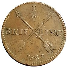 Rare 1827 Sweden ½ Skilling Coin 800,000 Minted - Carl XIV Johan KM# 596