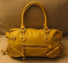LE SAUNDA Medium Yellow Leather Satchel Tote Doctor Speedy Bag Shoulder Bag