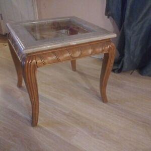 2 Vintage Glass & Marble Large Side Tables