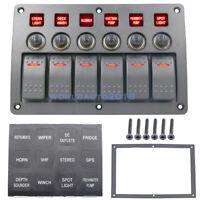 6 Gang Waterproof Red LED Rocker Switch Panel Marine Boat Circuit Breaker 12/24V