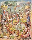 """ORIGINAL HAITIAN FOLKART PAINTING BY JEAN CLAUDE DAMAS """"BANANA SEL"""" 10""""08"""" HAITI"""