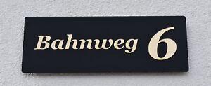 Hausnummer Hochglanz Schwarz 9H01 Acryl / Gold