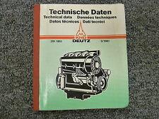 March 1981 Deutz Diesel Engine Master Shop Service Technical Data Manual Book