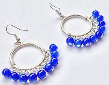 Bohocoho Eccentrico Festival Boho Gypsy Argento & Blu Cerchio Dangle Earrings
