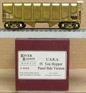 River Raisin Models - USRA 55-Ton Hopper Car Panel Side Ver. *BRASS* S-Scale NIB