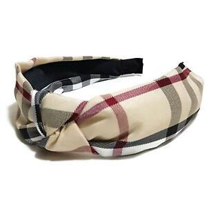Luxury Wide Knotted Headband Handmade Plaid Hair Band Nova Checker Hairband