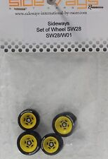 RACER SIDEWAYS SW28/W01 FERRARI + 3/32 ALUMINUM WHEEL SET NEW 1/32 SLOT CAR PART