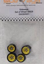 SIDEWAYS SW28/W01 FERRARI + 3/32 ALUMINUM WHEEL SET NEW 1/32 SLOT CAR PART