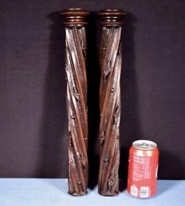 "*16"" Pair of French Antique Solid Walnut Posts/Pillars/Columns/Balusters Salvage"