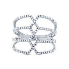Diamond Cocktail Ring 14k White Gold Pave Crisscross Open Multi Row Band 0.35ct