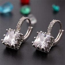 Diamond Elegant Copper Square Jewelry Hoop Earrings Cubic Zirconia Crystal