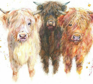 Fine Art Print of THREE HIGHLAND COWS watercolour by 710