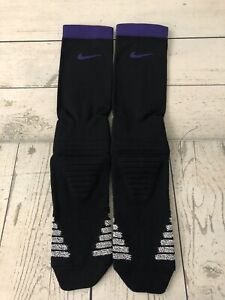 New Nike Grip Black & Purple Low Cut Ankle Football Socks XL - 11 - 13.5