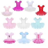 Girls Ballet Dance Leotard Dress Ballerina Tutu Skirt Performing Show Costume