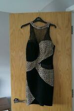 New Black & Gold Lipsy Bodycon Dress - Size 10