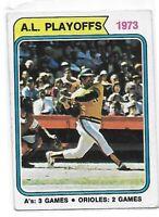 REGGIE JACKSON 1973 TOPPS AL PLAYOFFS BASEBALL CARD #470 OAKLAND ATHLETICS