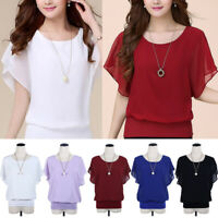 Women Summer Casual Chiffon Short Sleeve Blouse Shirts Loose Batwing Solid Tops